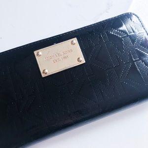 Michael Kors Bags - Michael Kors Black Patent Leather Logo Wallet